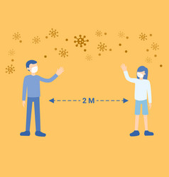 Social distancing man and woman keeping distance vector
