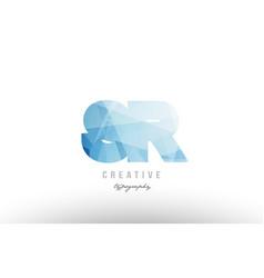 Sr s r blue polygonal alphabet letter logo icon vector