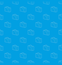 suitcase pattern seamless blue vector image