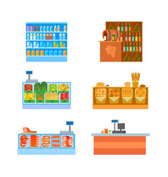 supermarket business counters shelves set vector image