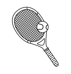 tennis sport racket with ball vector image vector image