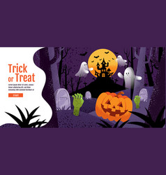trick or treat halloween background with pumpkin vector image