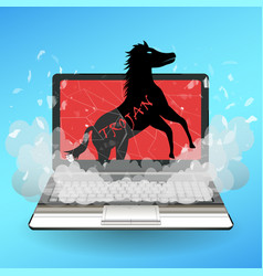 Trojan horse virus computer destroy laptop vector