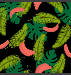 tropical leaves with bananas tropical leaves vector image