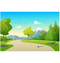 view mountains and trees in morning vector image