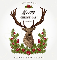 Vintage Christmas card Deer vector
