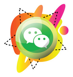 wechat logo and colorful graphics icon on a white vector image