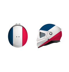 white motorbike classic helmet with france flag vector image