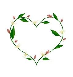 Wine Magnolia Flowers in A Heart Shape vector