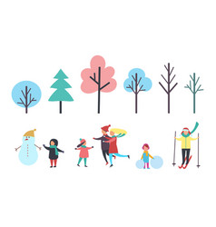 winter child with snowman family and trees vector image