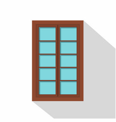 wooden brown latticed window icon flat style vector image