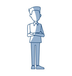 Young businessman standing with folded arms vector