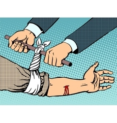 Bandage to stop the bleeding after being wounded vector image vector image