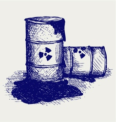 Barrels with nuclear waste vector image vector image