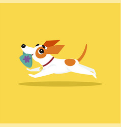 cute jack russell terrier running with slipper in vector image vector image