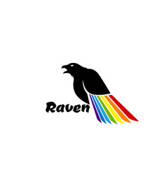 logo black raven with colored wing vector image vector image