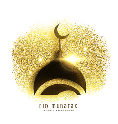 mosque design on golden glitter eid mubarak vector image