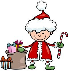 santa claus kid cartoon vector image vector image