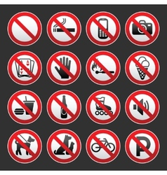 set prohibited signs on a gray background vector image vector image