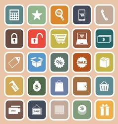 Shopping flat icon on orange background vector image vector image