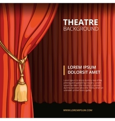 Theater stage with a red curtain Vintage vector image