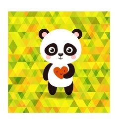 Cute little panda on triangles background vector