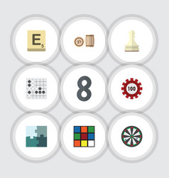flat icon play set of lottery mahjong pawn and vector image vector image