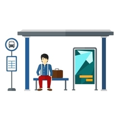 Man waiting for bus vector image vector image