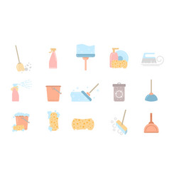 set of cleaning service flat icons and symbols vector image