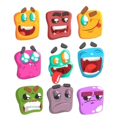 Square face colorful emoji set vector