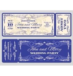 vintage ticket wedding invitation vector image vector image
