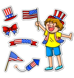 fourth of july set vector image vector image
