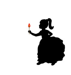 silhouette girl holding burning wooden match stick vector image