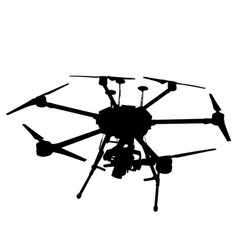 black silhouette drone quadrocopter on white vector image vector image