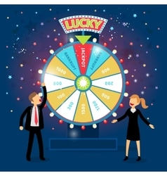 Business people with financial wheel of fortune vector image vector image