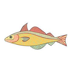 hand drawn abstract fish vector image
