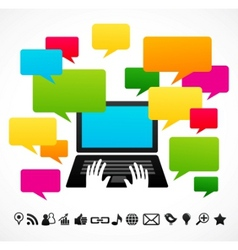 laptop computer with speech bubbles vector image vector image