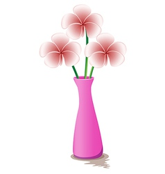 A pink flowervase with flowers vector image