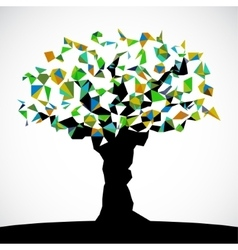 abstract low poly colored tree vector image