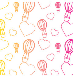 Air ballon love heart valentines day pattern vector