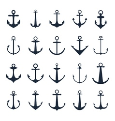 Anchor icons boat anchors isolated on white vector image