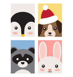 Animals poster collection on vector