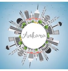 Ankara Skyline with Gray Buildings Blue Sky vector