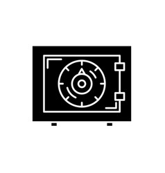 bank money safe black icon sign on vector image
