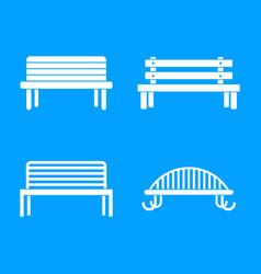 bench icon blue set vector image