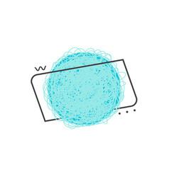 blue grunge geometric badge of circle shape with vector image