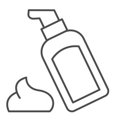 Body lotion thin line icon cosmetic bottle vector