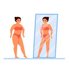 Body positive happy overweight woman in underwear vector