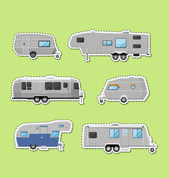 Camping trailer isolated labels set vector