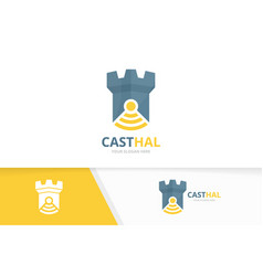 Castle and wifi logo combination tower and vector
